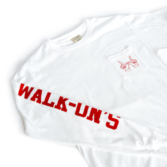 white long sleeve pocket t-shirt with red Walk-On's down the right sleeve and red WIN hand sign on the pocket