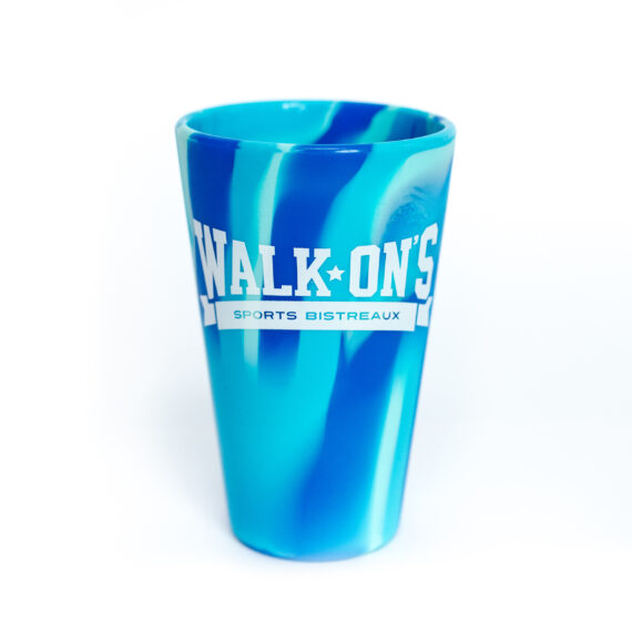 blue marble silicone cup with white walk-on's logo